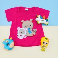 Kaos Atasan Anak Perempuan motif Bear Full Bordir