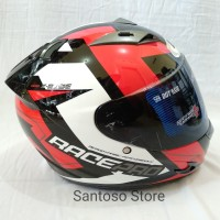 Helm Fullface GM Race Pro X Ride Black Red Single Visor Smoke