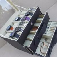 Kotak Jam Tangan isi 12 + Kacamata 5 + Perhiasan Box jam