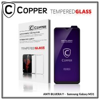 Samsung Galaxy M31 - COPPER Tempered Glass FULL BLUE RAY