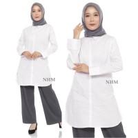 Kemeja Putih Polos Tunik-Kemeja Putih Muslim- Kemeja Putih Panjang