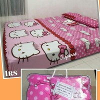 Bedcover Premium + Sprei Set Hello Kitty SUPERMURAH