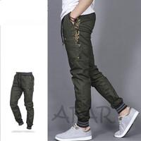 celana joger pria list army -jogger pants pria green army - Hijau, M