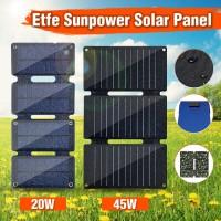 Power Bank Solar Panel Tenaga Surya 20W / 45W Dual USB Lipat untuk