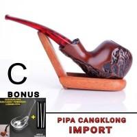 pipa rokok tembakau CANGKLONG import NAN ELEGAN C-BONUS DUDUKAN PIPA