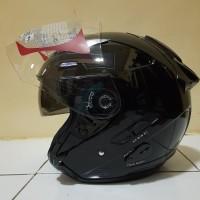 Helm KYT GALAXY Slide Solid Black Metalic Half Face Double Visor Ori