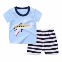 Promo Kids 1 Pair Short And Tee - Baju Anak Setelan Pendek (Blue