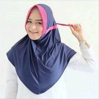 Jilbab Serut Kombinasi Hijab Instan 2 Warna