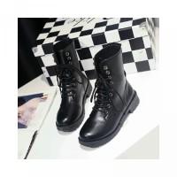 Ankle Boots Martin Toe Platform Tali Round untuk Sepatu Pelajar Wanita