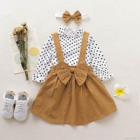 Baby Girl Polka Dot Top Solid Color Strap Skirt Headband Three