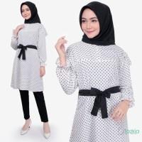 Atasan Muslim Wanita | Polka White Tunik | Tazkia Hijab Store Original