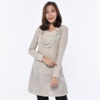 LUSINAN S6556 Kaos Tunik Wanita Lengan Panjang Atasan Cewek Premium