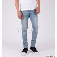Celana jeans skinny panjang pria blue washed / denim warna biru muda