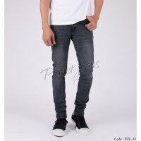 Celana jeans pria skinny deep grey wash denim pensil cowok skiny PUL24