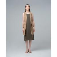 THIS IS APRIL Rowe Tuxedo Dress Khaki - 773203