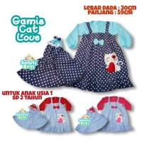 Dress Gamis Baju Bayi Perempuan 1-2 Tahun Cat love Polkadot Free Hijab