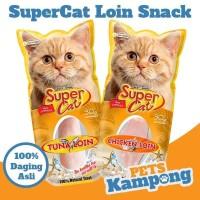 Snack kucing 100% Daging Asli SuperCat Chicken Loin Tuna Loin 30gr