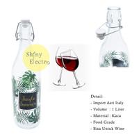 Vintage Botol Kaca Import Italy 1 Liter Wine Air Dingin Tebal Jungle