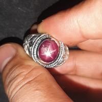 Cincin Batu Permata Ruby Star Merah Asli Top Starrrr