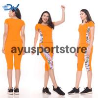 Baju senam zumba wanita orange setelan baju senam jumbo - Orange, M