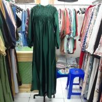 gamis muslim wanita model smoc warna hijau botol