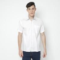 Kemeja Pria Katun Lengan Pendek Putih GARAVANI Kasual / Formal 3704