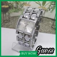 Jam Tangan Wanita Cewek Analog Rantai Import Murah Guess Silver SW72