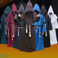 Kostum Cosplay Halloween Model Monk Medieval Bahan Tebal untuk Pria,