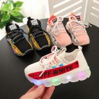 Free Kaus Kaki offwhite kids shoes Bunga bersulam Sepatu Sport Anak L