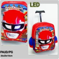 Tas Troli Trolley Sekolah anak PAUD / PG POWER RANGER lampu LED