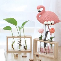 ESS Glass Test Tube Vase Bottle in Wooden Stand for Plant