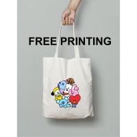 [Satuan] Totebag Blacu BT21 BTS KPOP kanvas CUSTOM resleting [35x40]