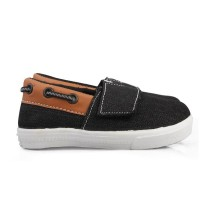 Sepatu Anak cowok umur 1 2 TAHUN velcro antislip hitam. K06