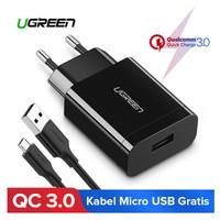 Ugreen Charger Qualcomm QC 3.0 Original Bonus Kabel Micro USB 100 cm