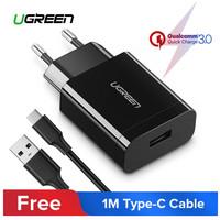 Ugreen Kabel Charger USB Fast Charging QC 3.0 18W + Kabel USB C 100cm