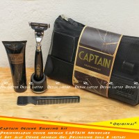 Paket Alat Cukur Pria Captain Deluxe Shaving Kit Cegah Iritasi