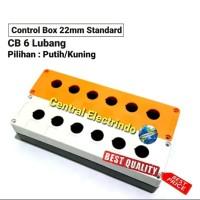 Control Box Push Button 22mm 6 Lubang Putih/Kuning. - Orange