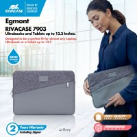 "RIVACASE Egmont Series- 13.3"" Water Resist Padded Laptop Sleeve (7903) - Biru"