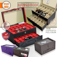 PROMO - KOTAK JAM TANGAN ISI 24 ALL COLOR / TEMPAT JAM / WATCH BOX - Hitam Merah