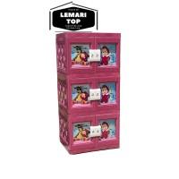 AKAKO - Lemari Baju Bayi / Plastik Motif Printing / 3 Susun 2 Pintu