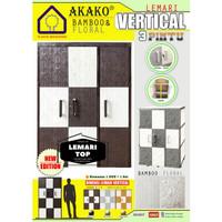 AKAKO - Lemari Baju / Plastik / Vertical Motif Bamboo & Floral Susun 3
