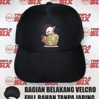 Topi Full Bahan Anime Nezuko Basket Chibi Demon Slayer