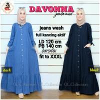 Dress Davonna Gamis Wanita Jumbo LD120 Bahan Jeans Wash Busui Bersaku