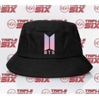 Topi Bucket Hat Premium Desain Logo BTS Galaxy Kpop Korea Bangtan Boys