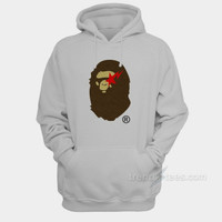 Jaket Sweater Hoodie Bape Star Logo Graphic Fleece Pullover Gray