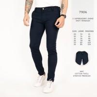 7906 C Celana Panjang Pria Super Skinny Chino Navy Premium