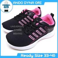 Sepatu Sekolah Running Anak Ando Dyna Black Pink kets Size 33-40 - 39