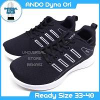 Sepatu Sekolah Running Anak Ando Dyna Black White kets Size 33-40