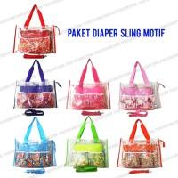 Paket Sling Transparant dan Diaper Bag Motif (Tas Bayi Tas Botol Susu)
