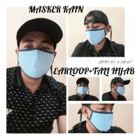Masker Kain Earloop + Plus Tali Hijab Ala Kpop korea warna random mix